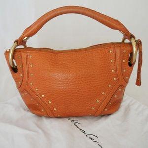 Kenneth Cole Studded Orange Leather Handbag Purse